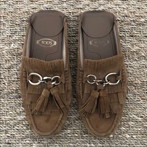 Tod's Tan Suede Mules
